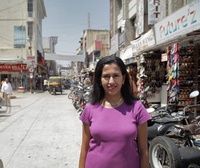 Shobha Narayan in one of the adjacent street of Commercial Street.