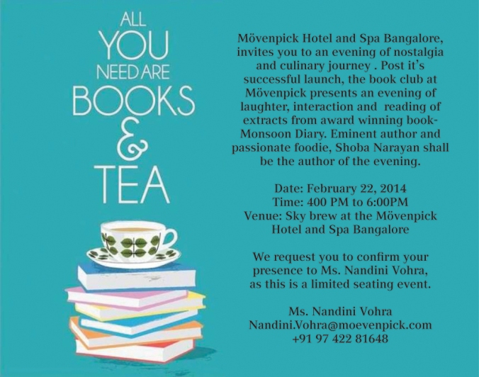 Invite for an evening of book reading -Moevenpick Hotel and Spa Bangalore